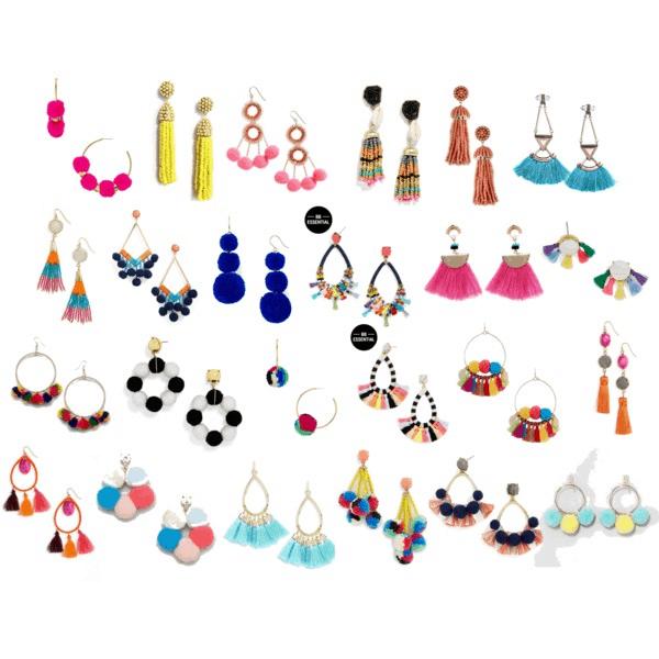 Tassel and pom pom earrings