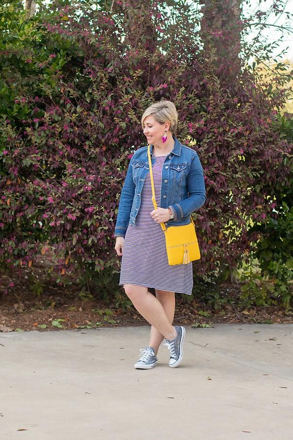 stripe dress bright bag