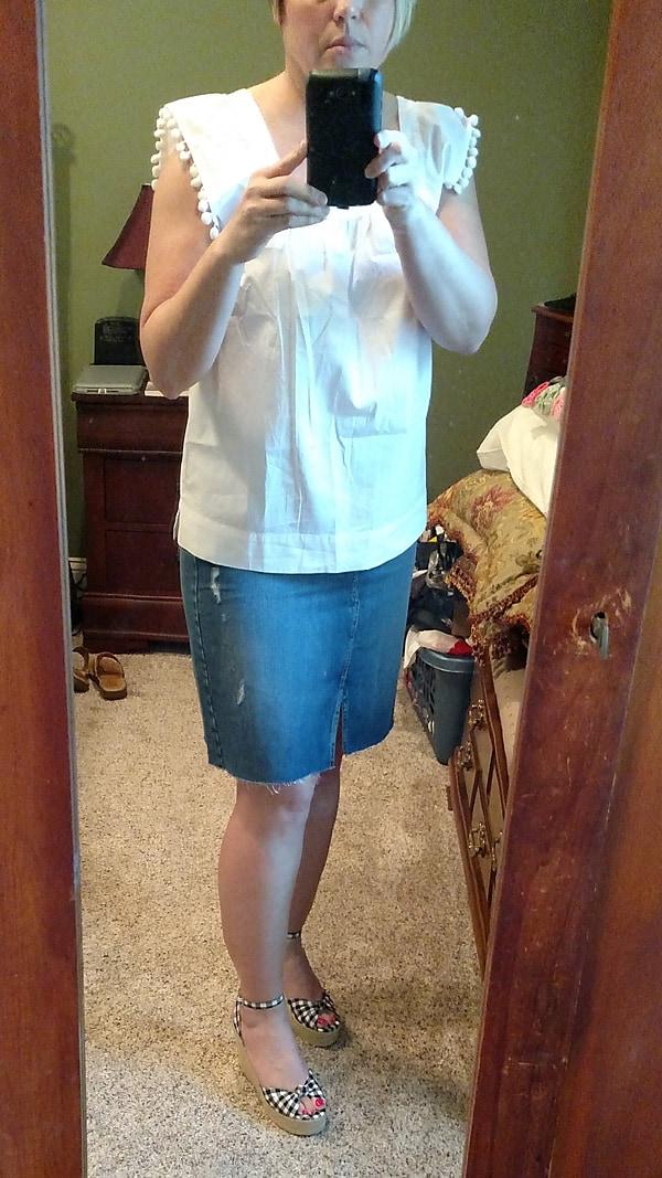 gingham wedges and denim skirt