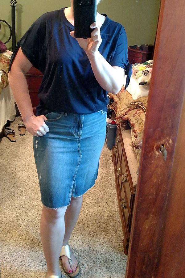 Loft tee and denim skirt