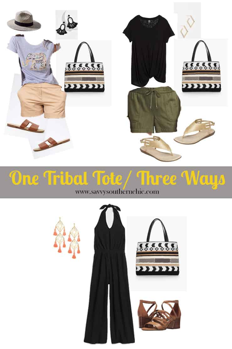 How to creatively style a bold tribal tote three ways