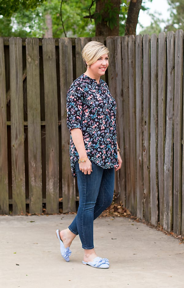 floral tunic with jeans