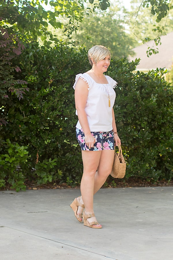 pom pom trim top, floral shorts, neutral wedges, summer fashion, summer outfit, shorts outfit