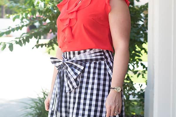 bow gingham skirt