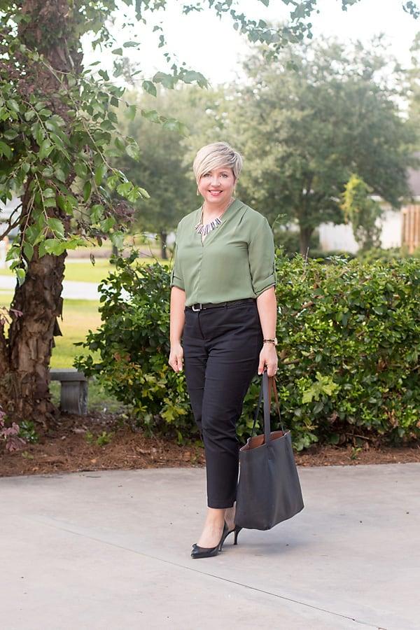 summer work wear, olive top
