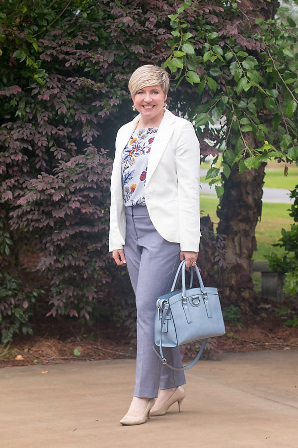 all new, Loft pants, floral top, blazer, work wear