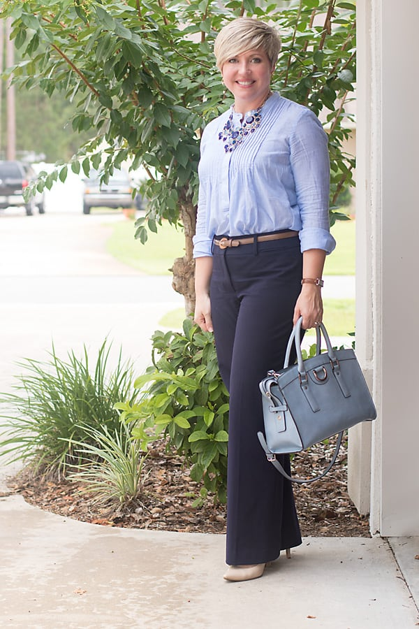 blue monochromatic outfit