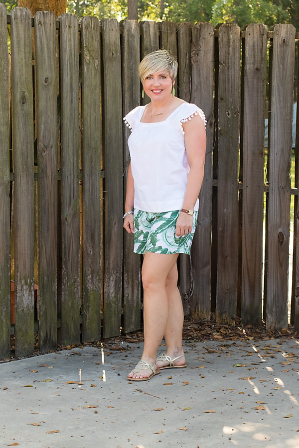 palm print shorts, womens summer outfit, cute summer outfit