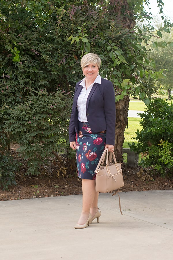 button up shirt, office outfit, navy blazer outfit, floral pencil skirt