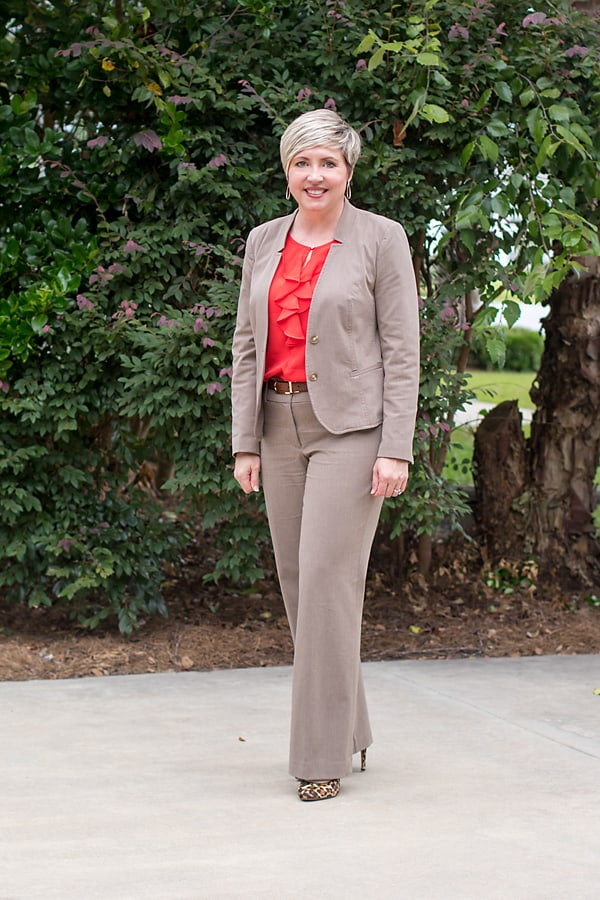women's business attire, red blouse, taupe suit