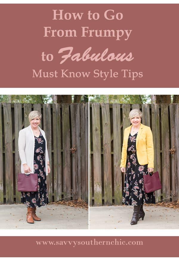 midi dress, frumpy to fabulous