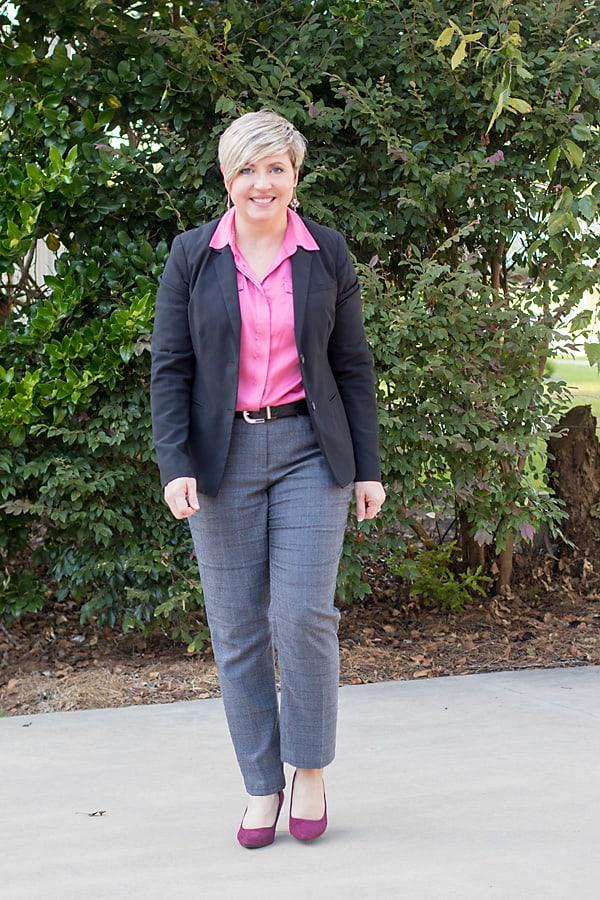 womens work wear, fall work wear, plaid pants