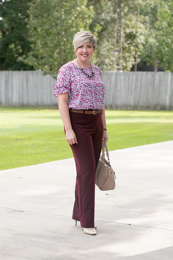 Ruffle top, burgundy pants work outfit