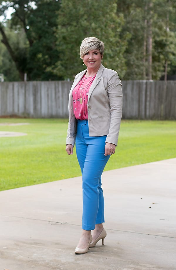 colorful ankle pants, womens office outfit
