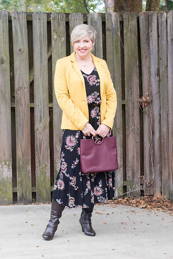 mustard blazer, midi dress, fall outfit