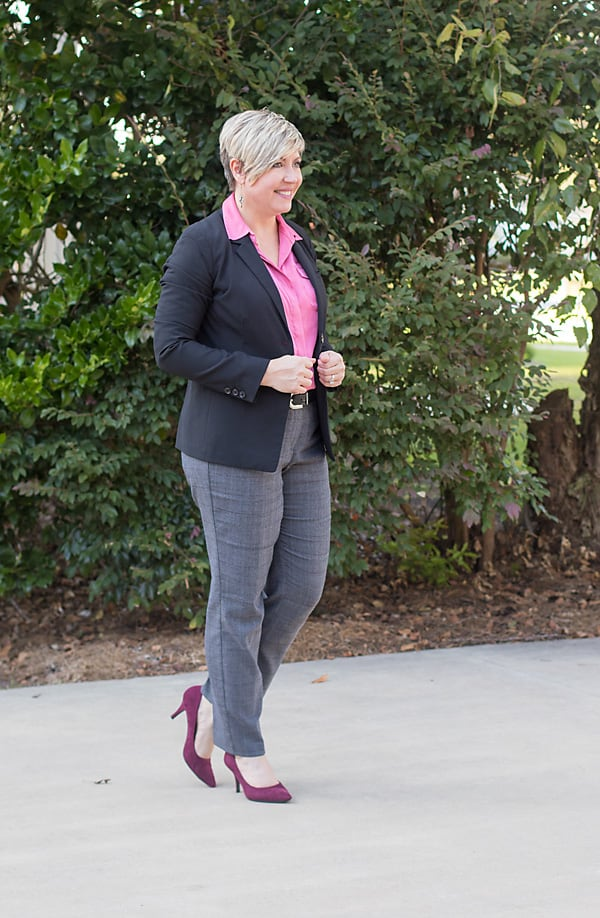 plaid pants office outfit, burgundy pumps, fall office wear
