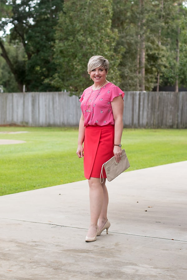 stylish work outfit, fall skirt outfit