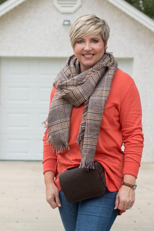 plaid scarf, orange tunic