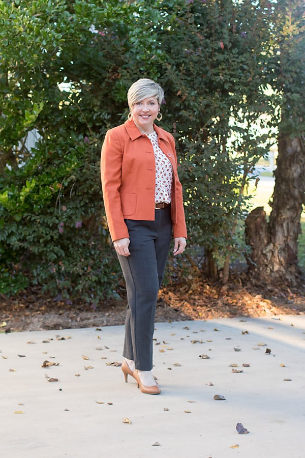 rust orange jacket, office outfit
