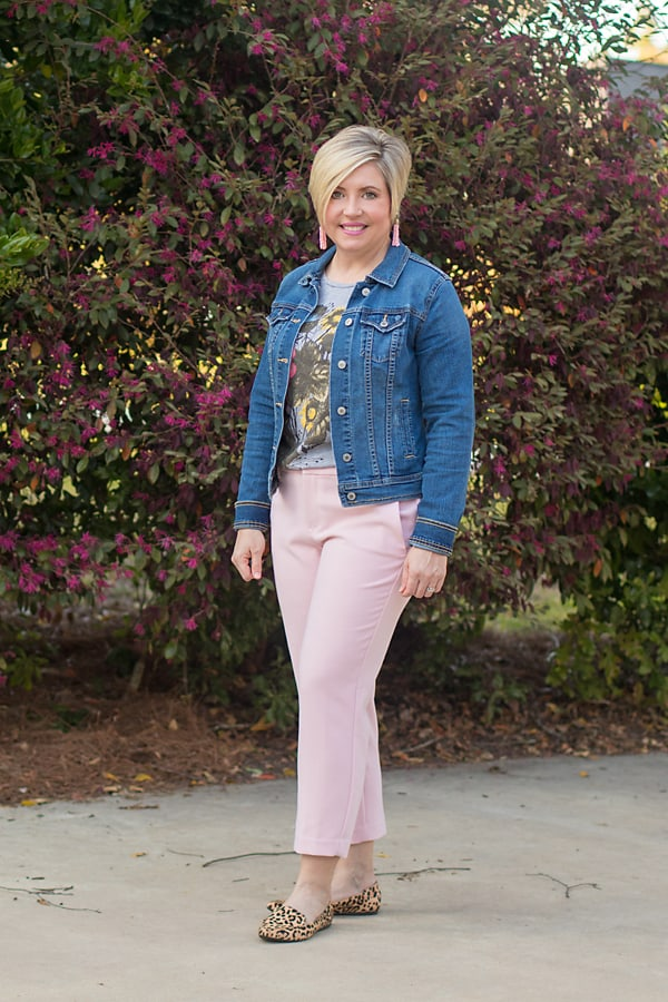 pink pants, denim jacket, graphic tee, leopard loafers