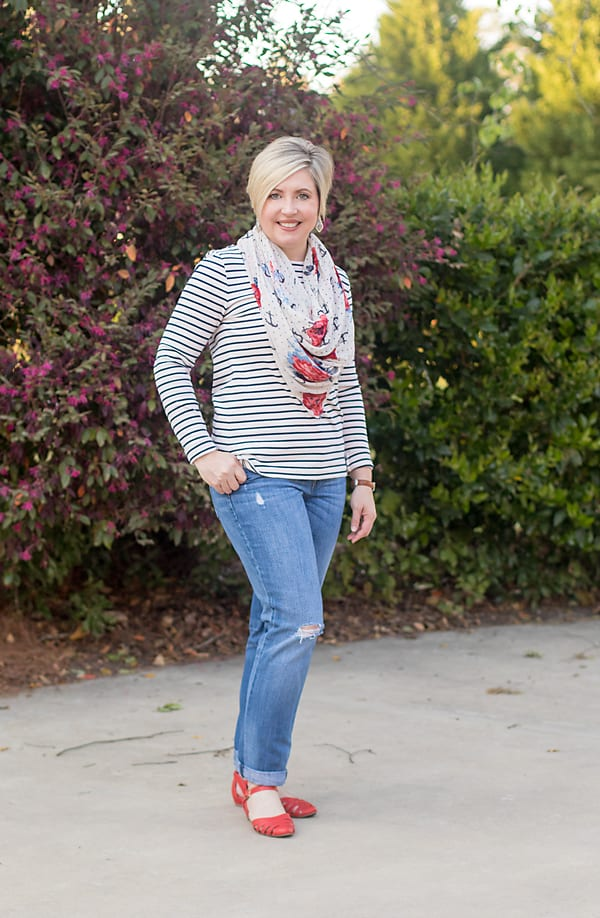 red shoes, boyfriend jeans, striped top