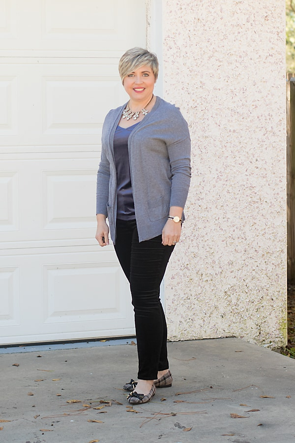 velvet cami with velvet jeans and a cardigan, outfit for New Year's Eve