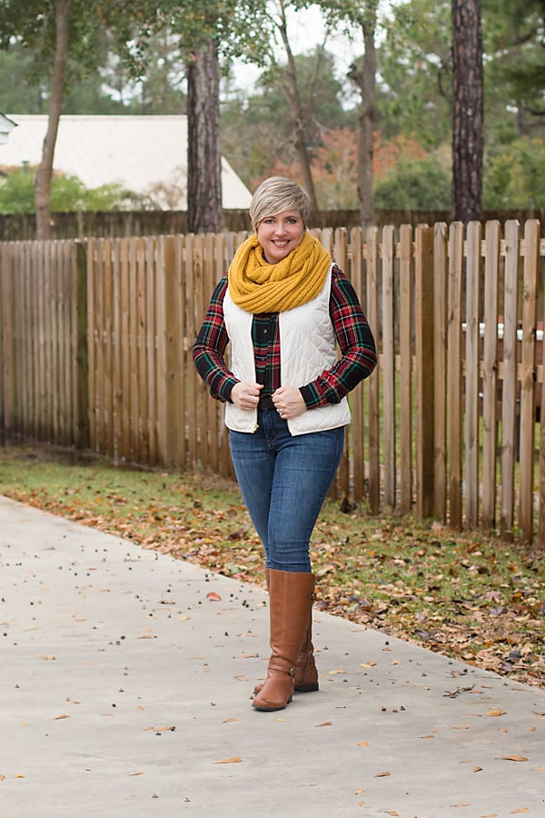 winter outfit, vest as completer piece, infinity scarf