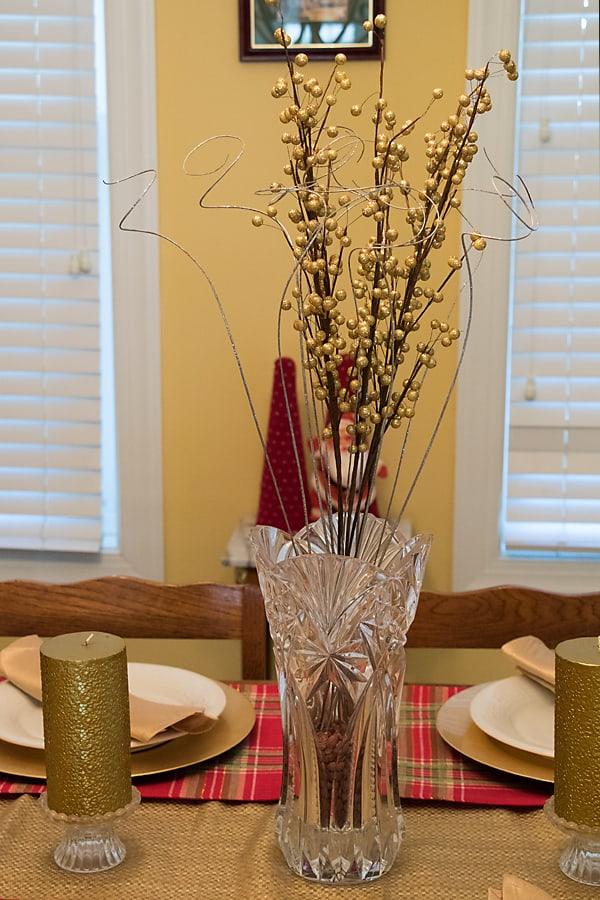 gold berry stem centerpiece, crystal vase