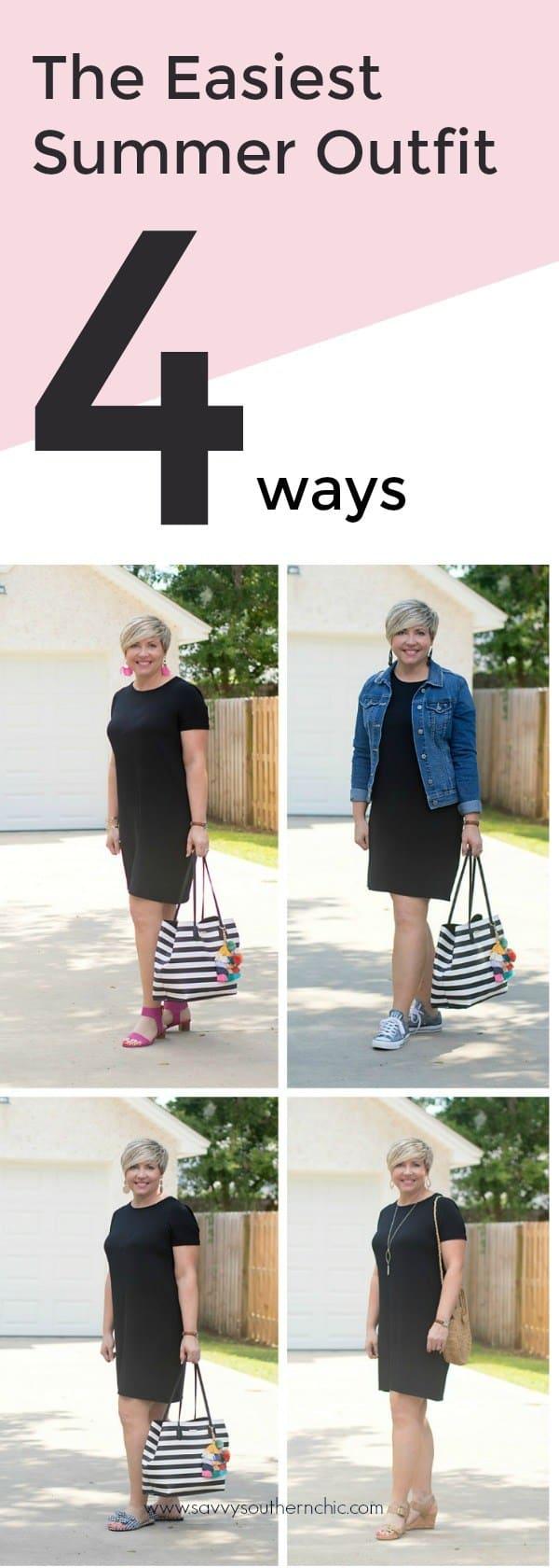 black tshirt dress styled four ways