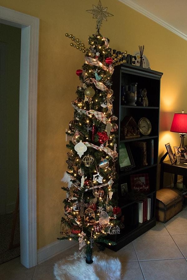 nativity theme Christmas tree, skinny pencil tree
