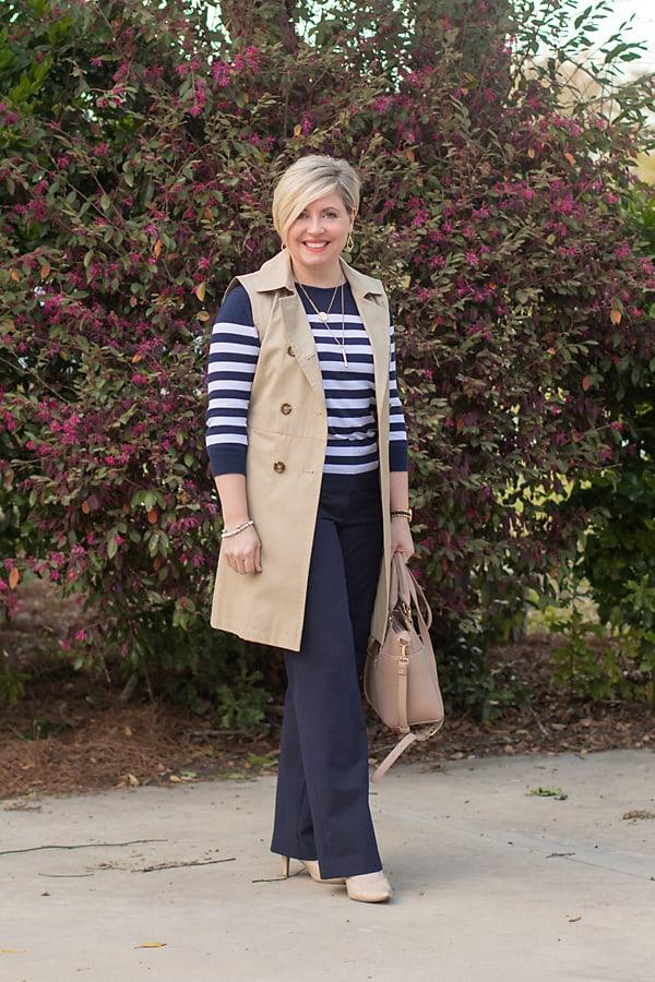 sleeveless trench coat, women's office attire