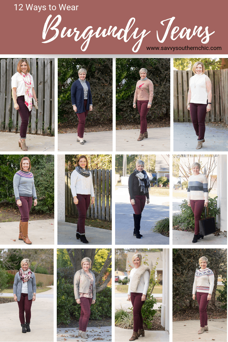 12 ways to wear burgundy jeans for fall and winter.