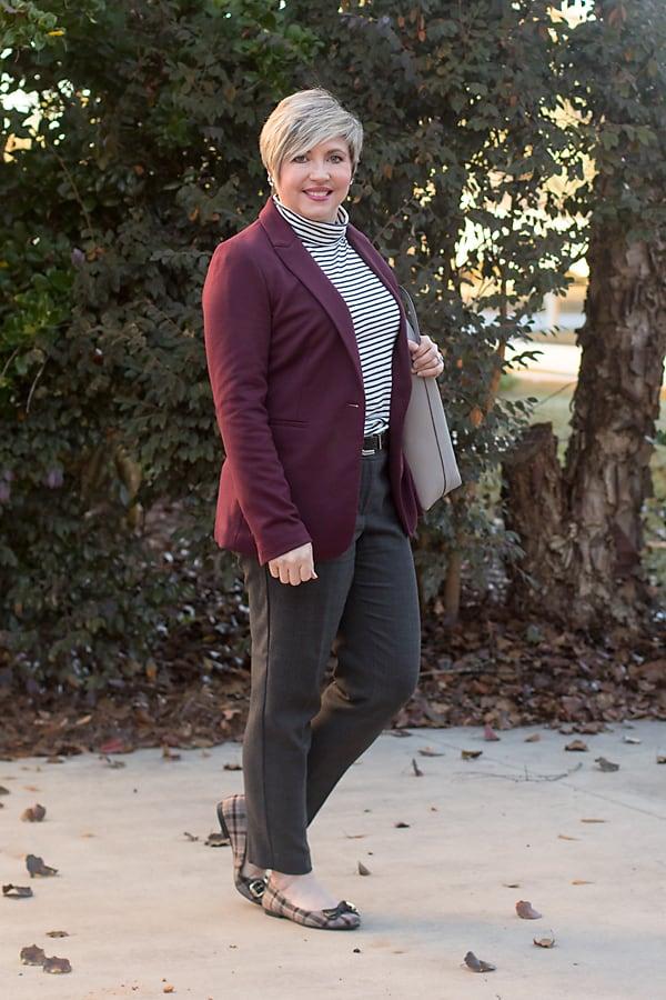 womens office attire, striped turtleneck tee, blazer, ankle pants