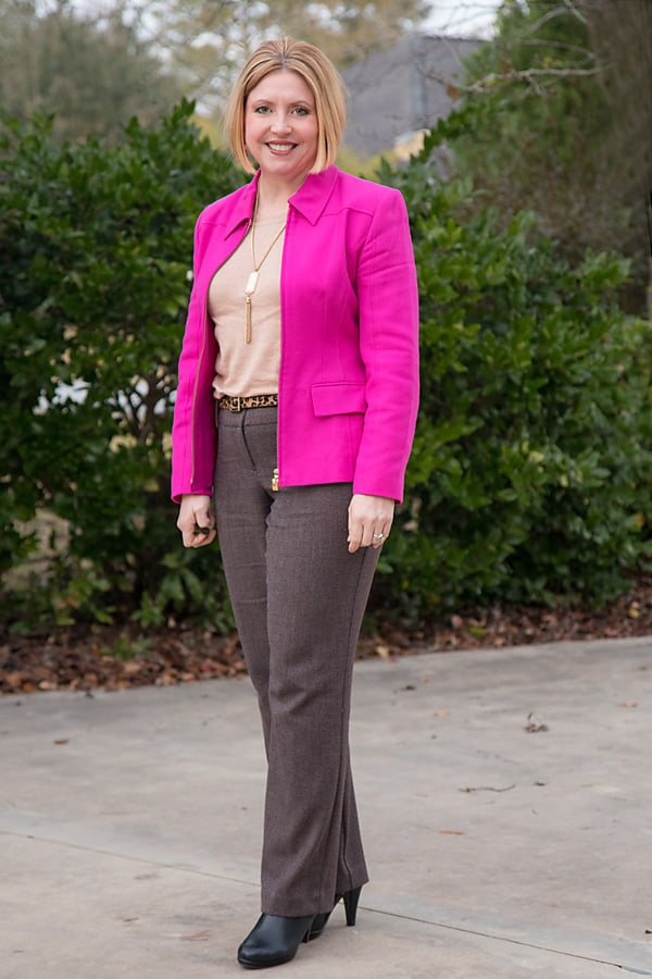 Hot pink and brown combo for the office