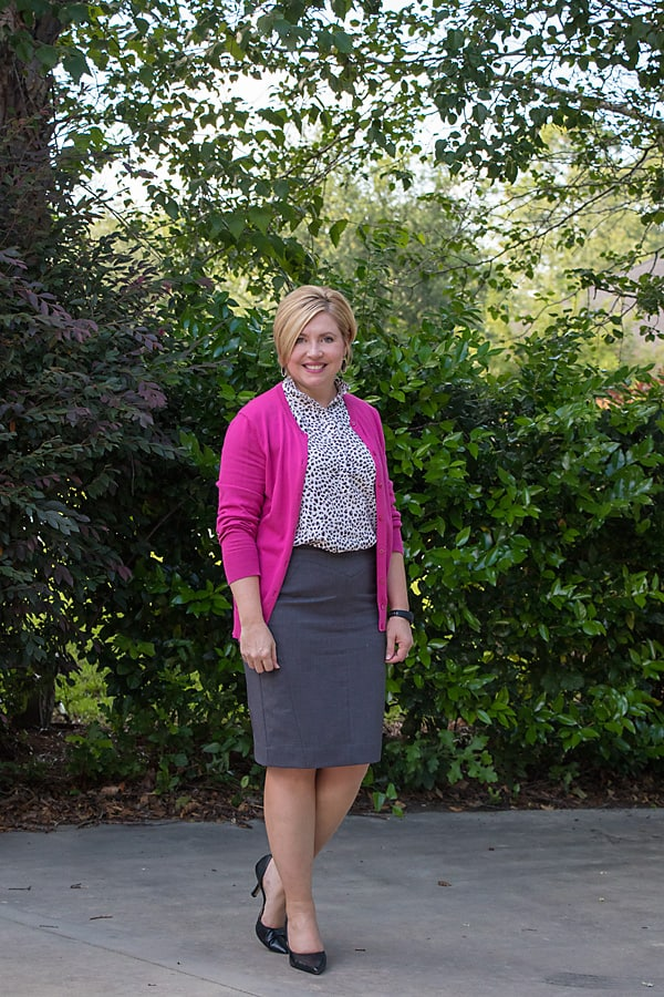 Wear to work, hot pink cardigan and grey pencil skirt