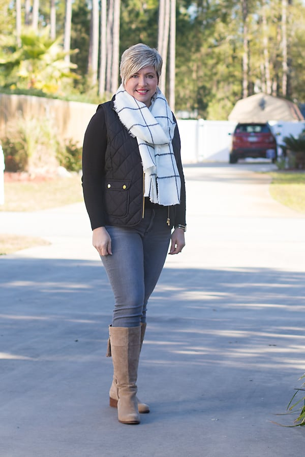 Winter outfit with black sweater and grey jeans and vest outfit topper.