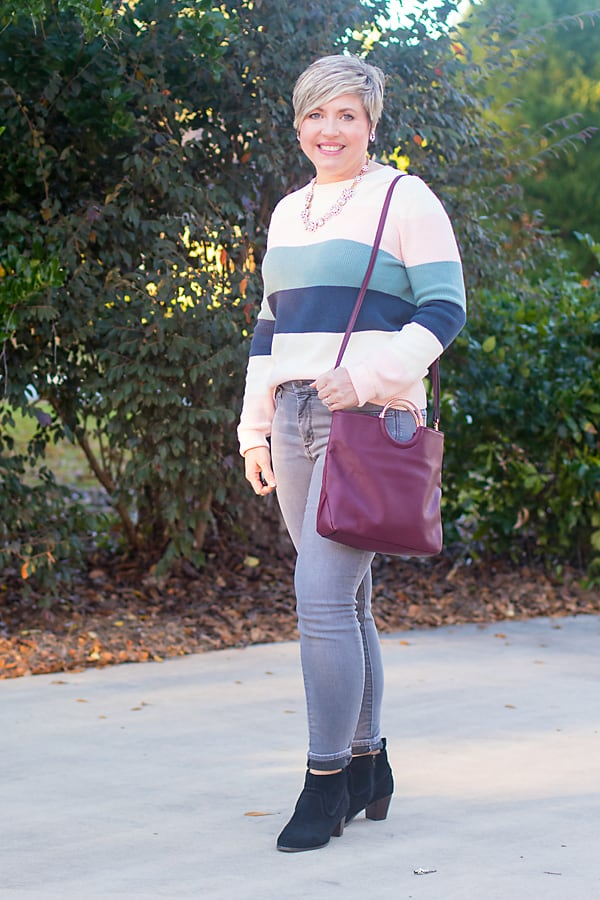 grey jeans and sweater winter outfit