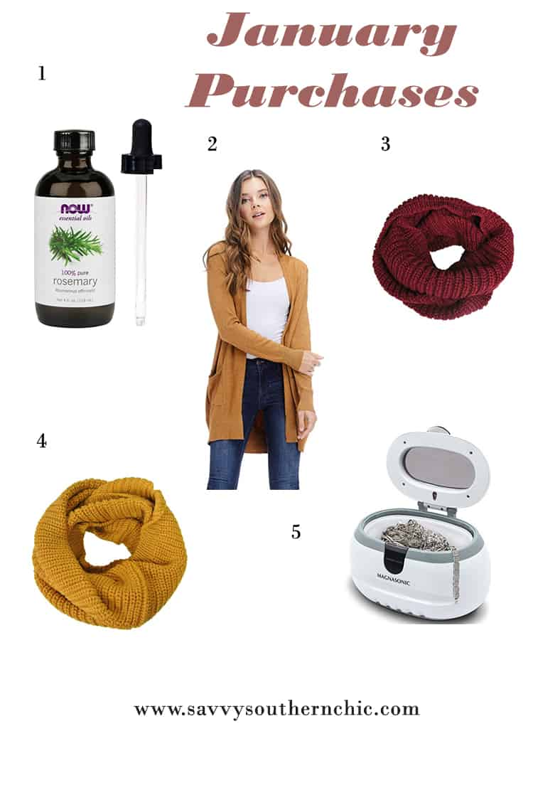 January purchases from Amazon featuring cardigan, scarf, essential oil and jewelry cleaner.