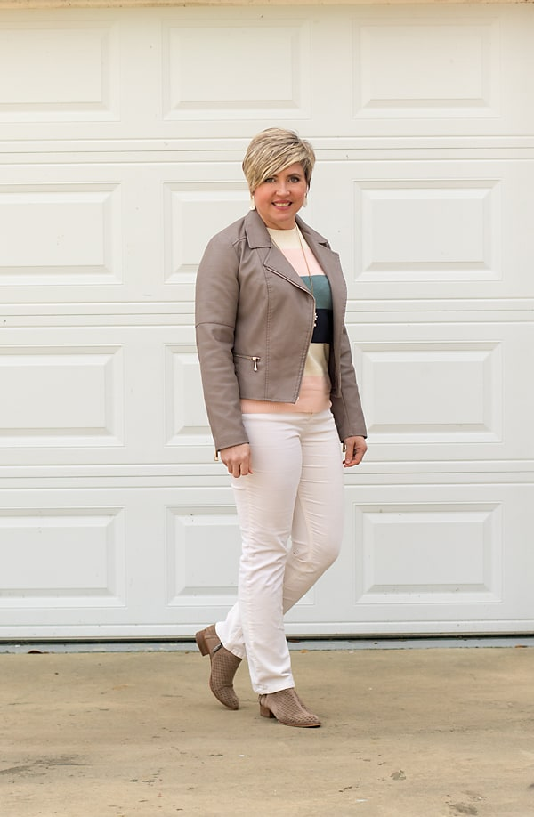 color block sweater in winter outfit