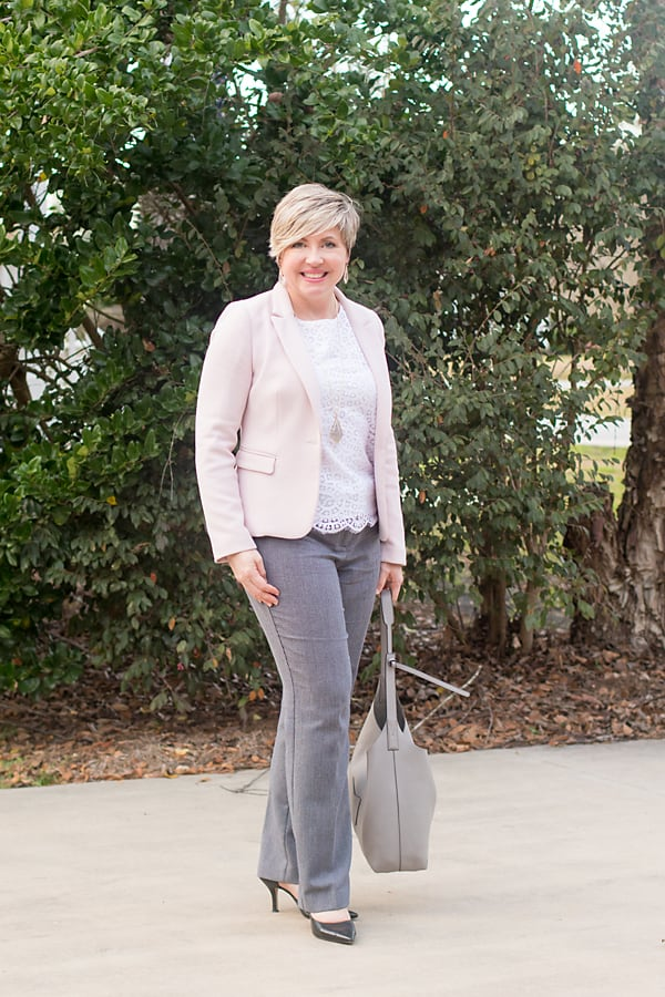Savvy Southern Chic in blush blazer, lace top and glen plaid pants womens office outfit