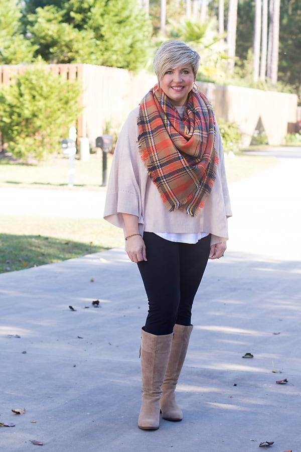 plaid blanket scarf with leggings and tall suede boots