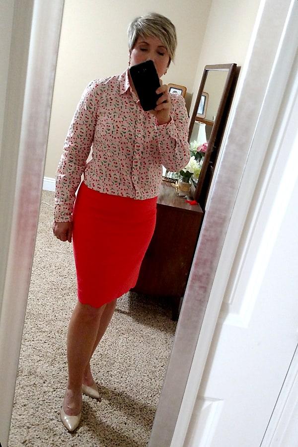 JCrew Factory cherry print top and scallop hem skirt