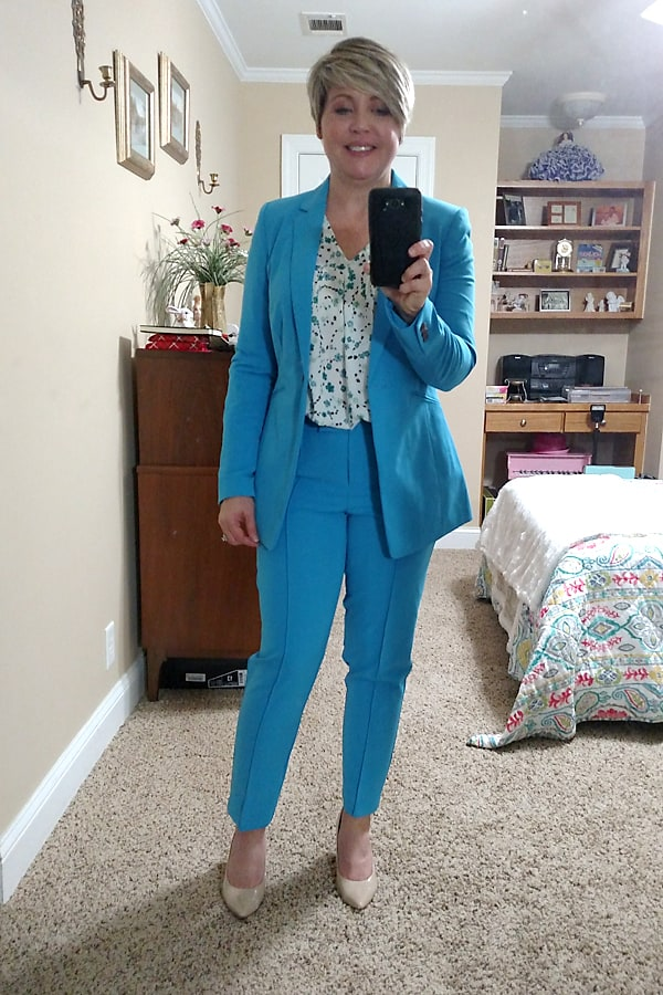 bright blue spring suit office outfit