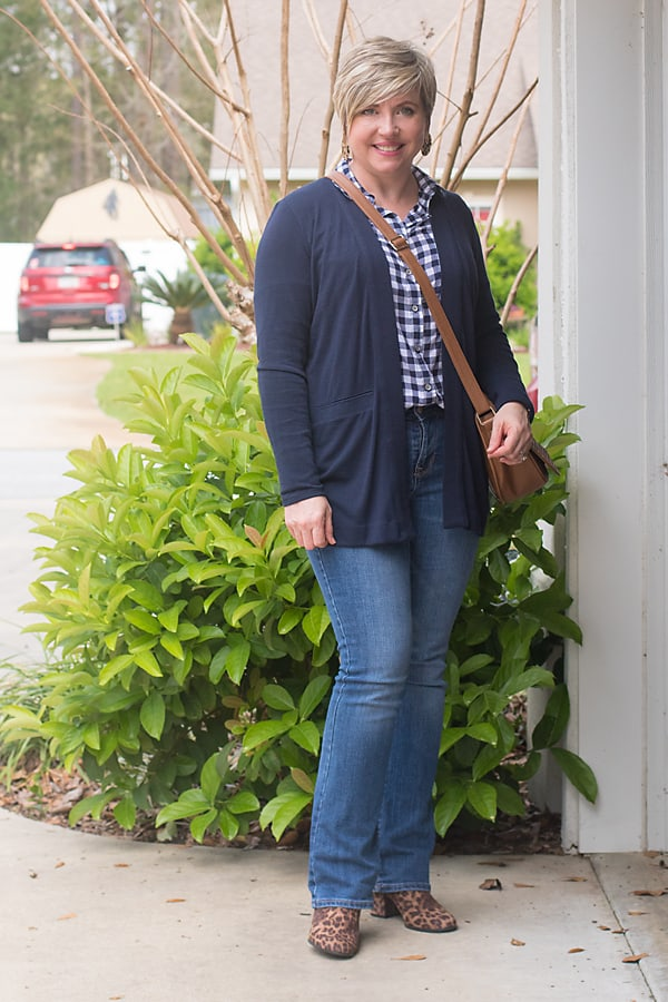 classics gingham shirt with leopard print boots