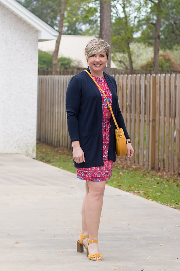 dress and cardigan with mustard shoes and accessories