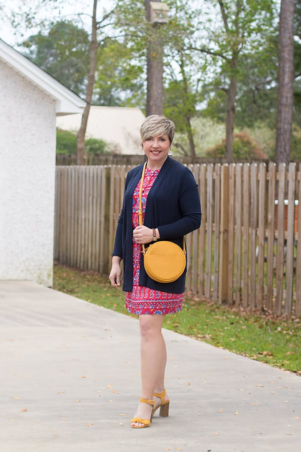 spring outfits, spring mini capsule outfit with dress and cardigan