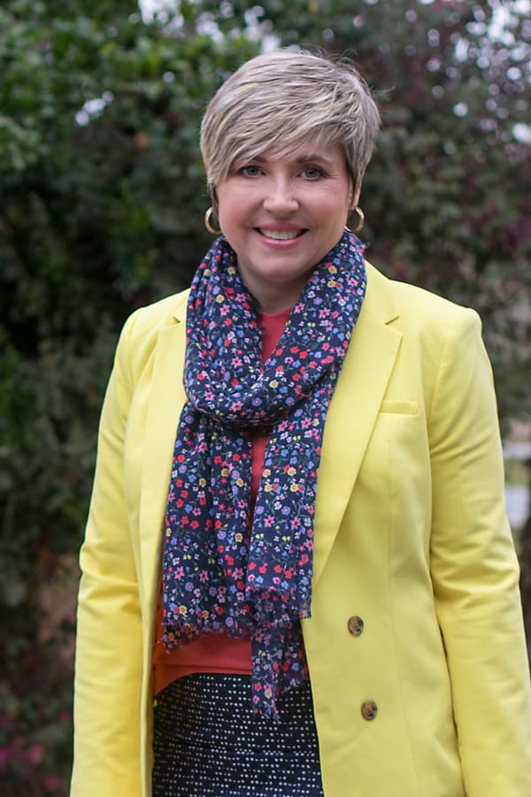floral scarf with bright yellow blazer
