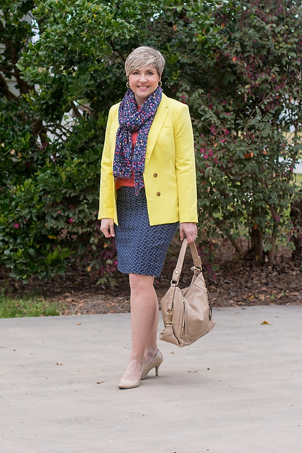 bright yellow blazer with navy pencil skirt office outfit