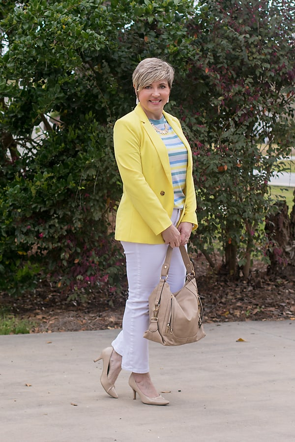 casual Friday outfit with yellow blazer and striped tee plus white jeans for spring