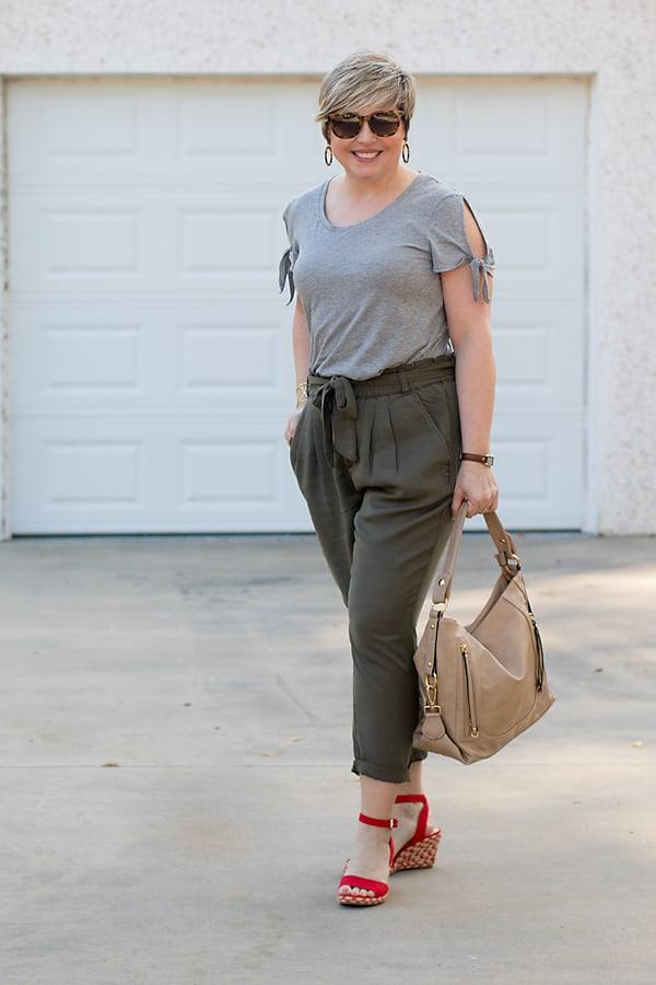 tie sleeve grey tee with olive paper bag pants